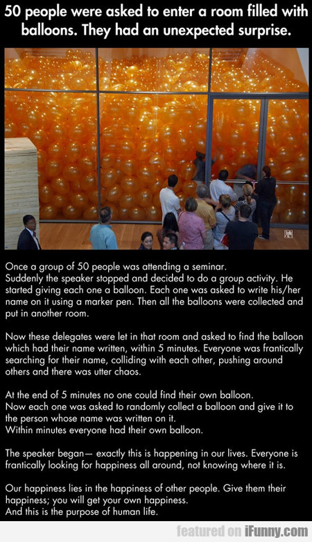 50 people were asked to enter a room filled with..