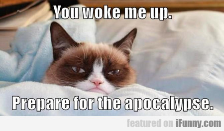 You woke me up. Prepare for the apocalypse