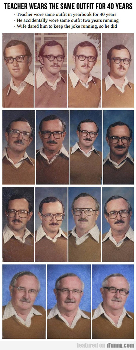 Teacher Wore Same Outfit In Yearbook For 40 Years