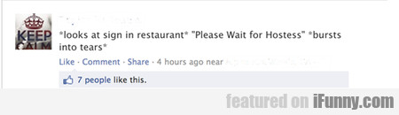 looks at sign in restaurant