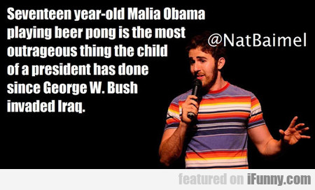 Seventeen year-old Malia Obama playing beer pong