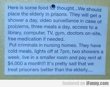 We Should Place The Elderly In Prisons