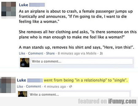 As an airplane is about to crash, a female...