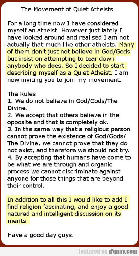 The Movement Of Quiet Atheists