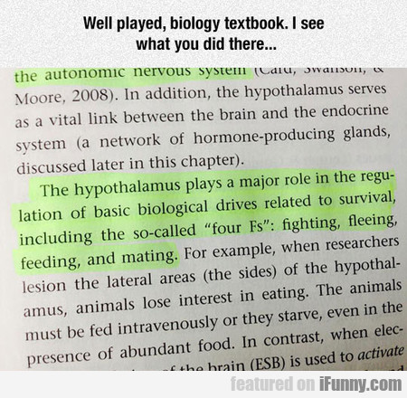 Well played, biology textbook