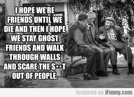 I Hope We're Friends Until We Die And Then...