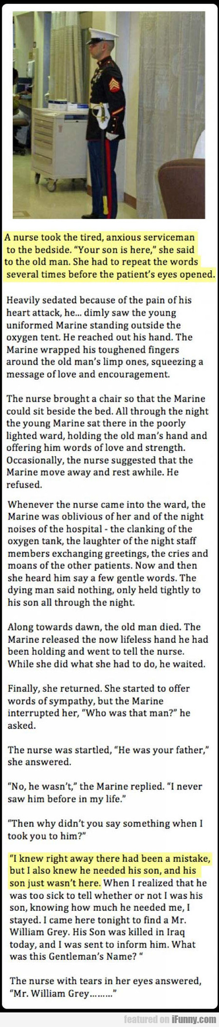 a nurse took the tired serviceman to the bedside