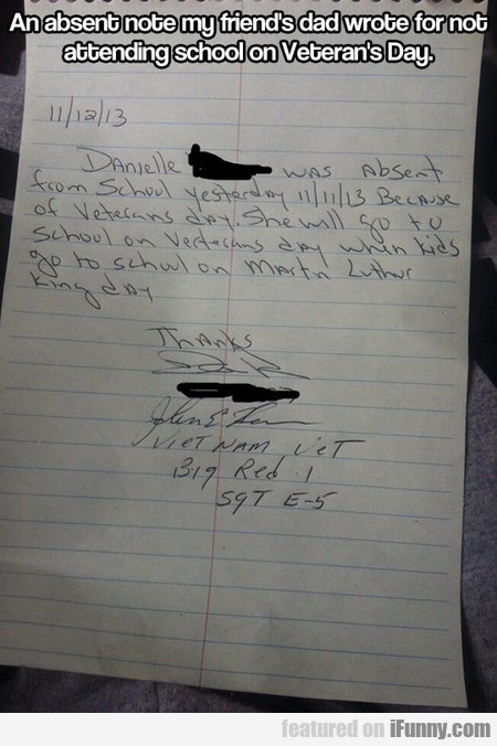 an absent note my friend's dad wrote