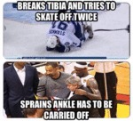 Breaks Tibia And Tries To Skate Off Twice