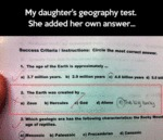 My Daughter's Geography Test