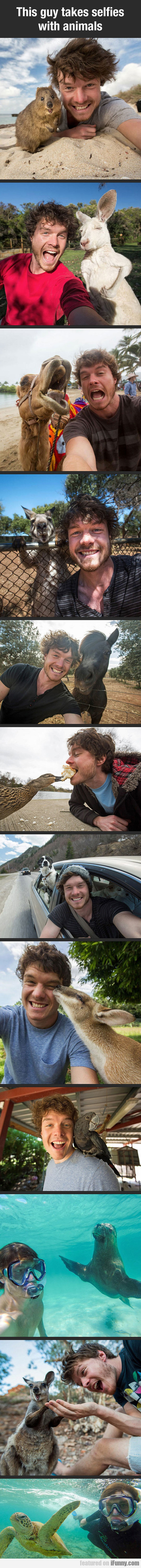 This Guy Takes Selfies With Animals