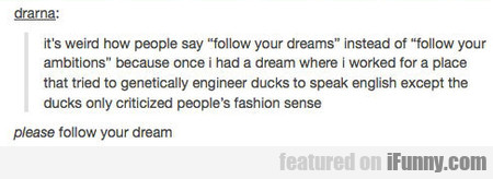 It's Weird How People Say Follow Your Dreams