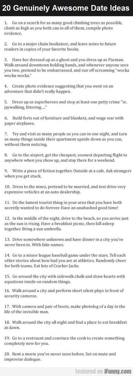 20 Genuinely Awesome Date Ideas