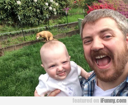 Just a Sweet Photo of Dad, Baby, and Dog