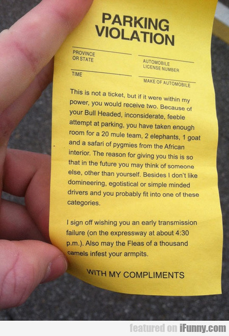 Parking Violation With My Compliments