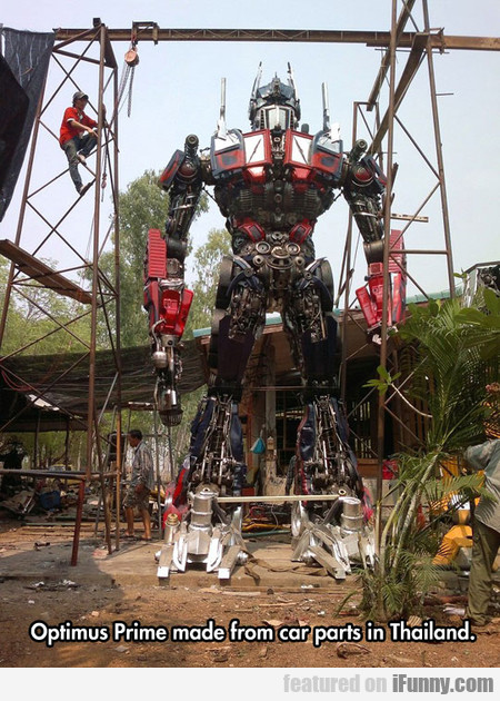 optimus prime made from car parts