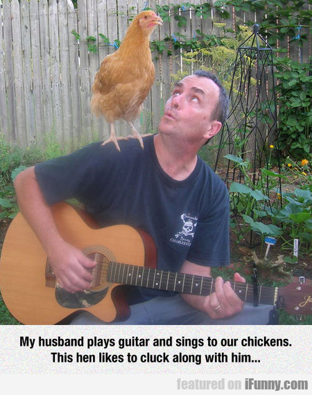 My Husband Plays Guitar And Sings To Our Chickens