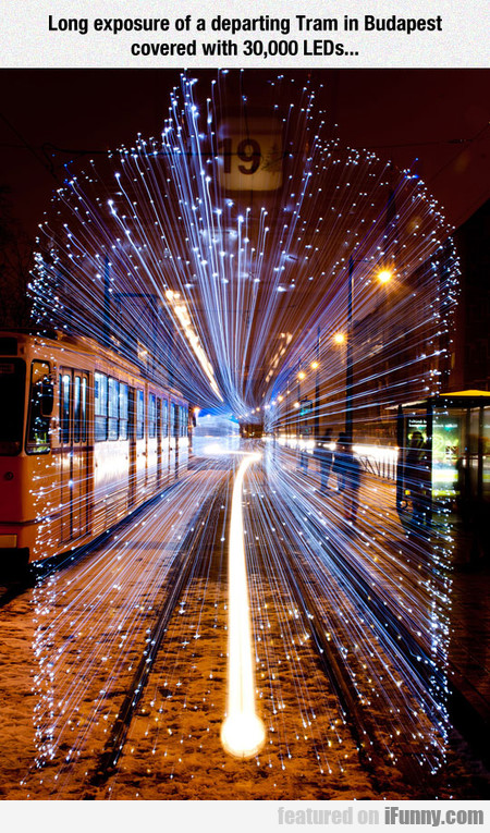 Long Exposure Of A Departing Tram In Budapest