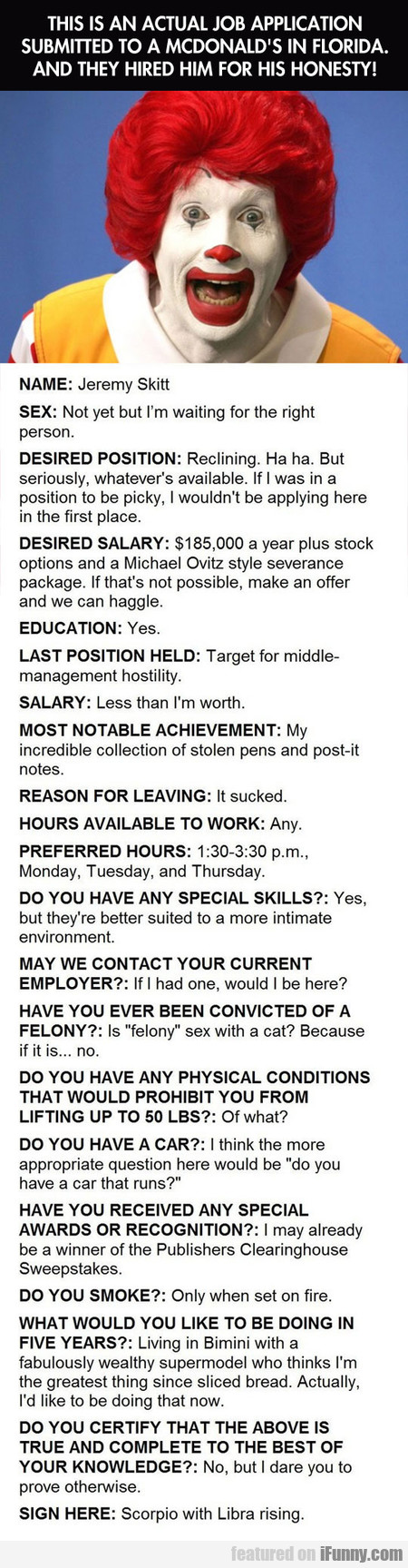 This Is An Actual Job Application In Florida