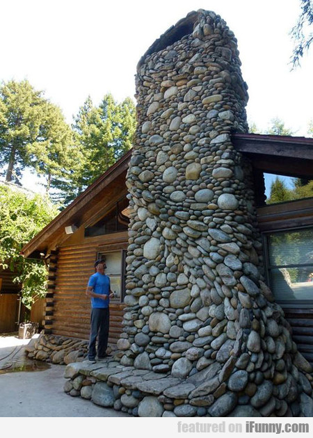 Epic River Rock Fireplace