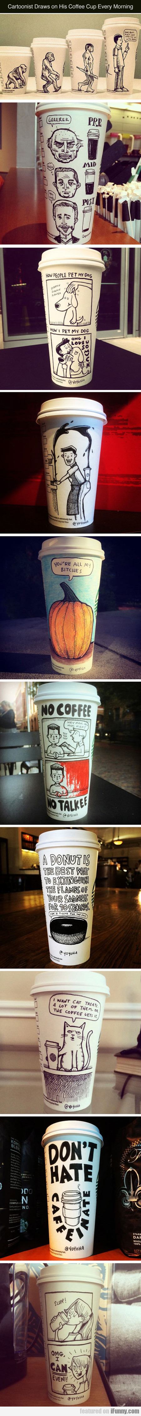 Cartoonist Draws On His Coffee Cup Every Morning