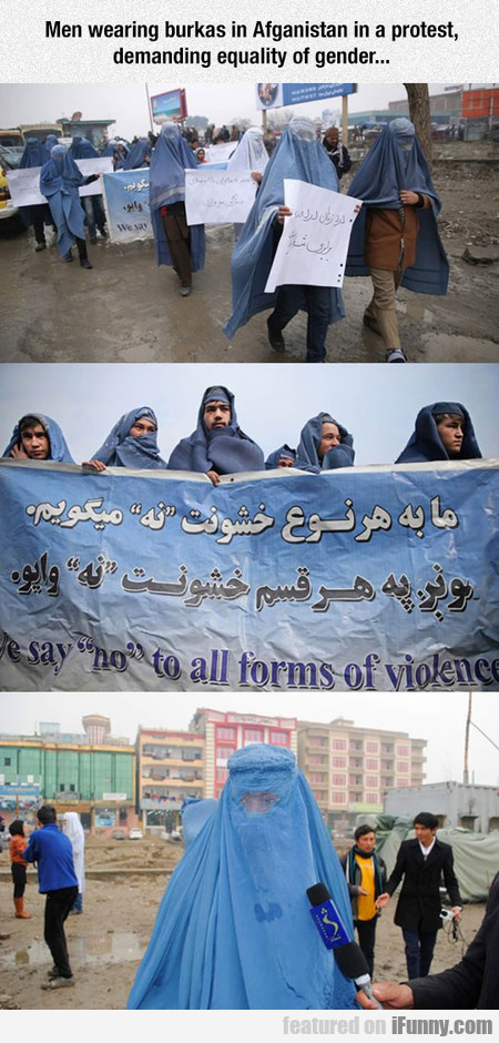 Men Wearing Burkas In Afganistan In A Protest