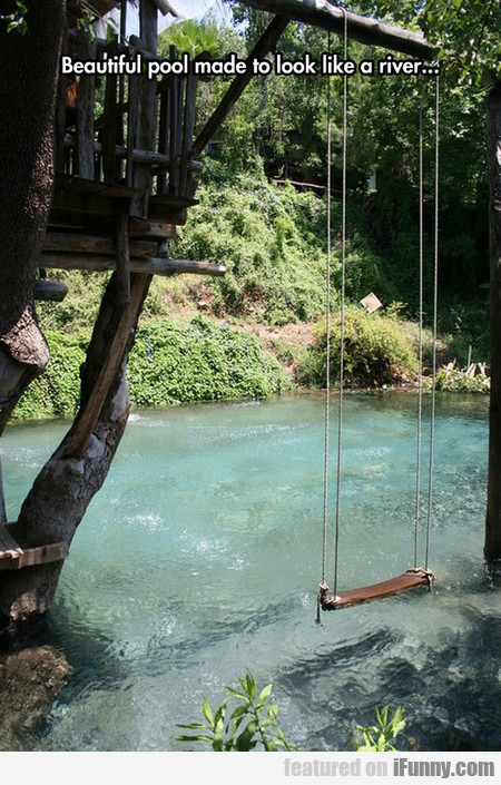 beautiful pool made to look like a river