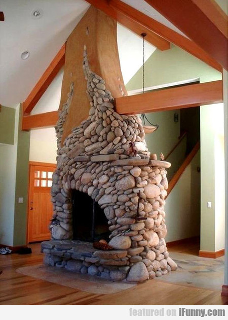 Awesome River Rock Fireplace