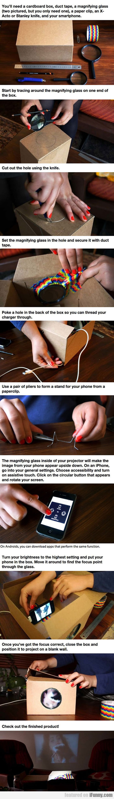 Make A Cardboard Box Smartphone Projector