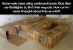 Homemade Maze Using Cardboard Boxes
