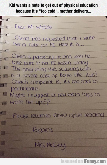 Olivia's Note Request