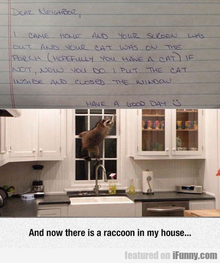 And now there is a raccoon in my house...
