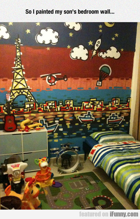So I painted my son's bedroom wall...