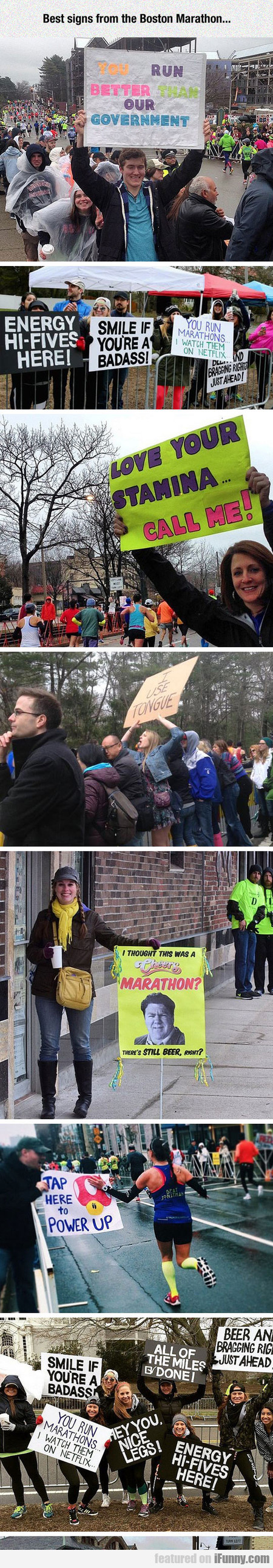 Best Signs From The Boston Marathon...