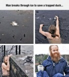 Man Breaks Through Ice To Save A Trapped Duck...