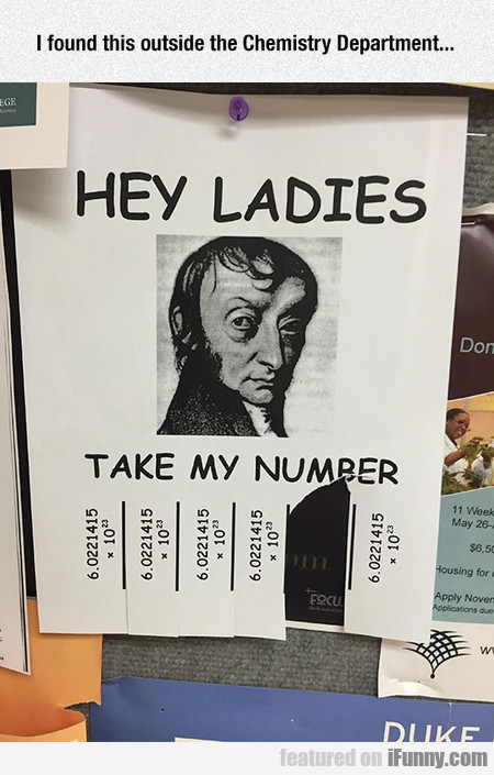 I Found This Outside The Chemistry Department...