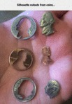 Silhouette Cutouts From Coins...