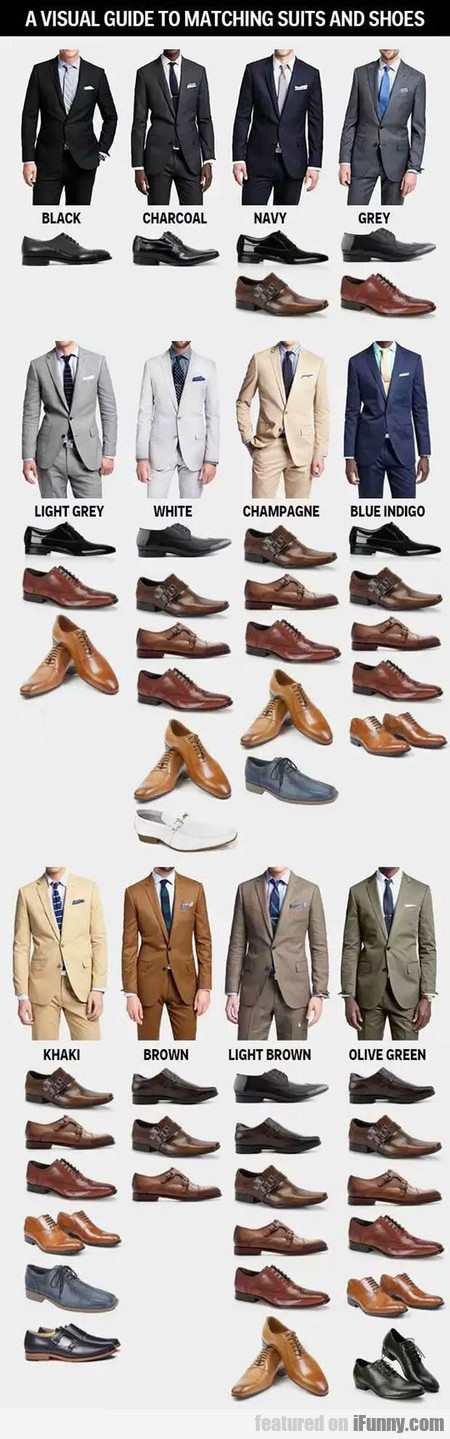 A Visual Guide To Matching Suits And Shoes