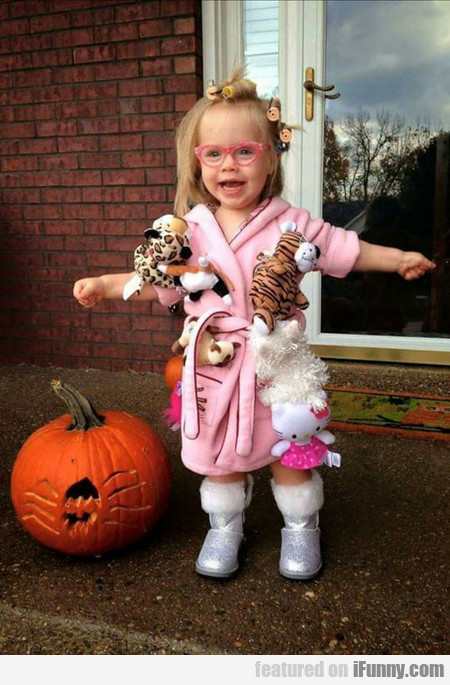 Toddler Dressed As Crazy Cat Lady For Halloween