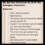 Dad's Nicknames For The Avengers