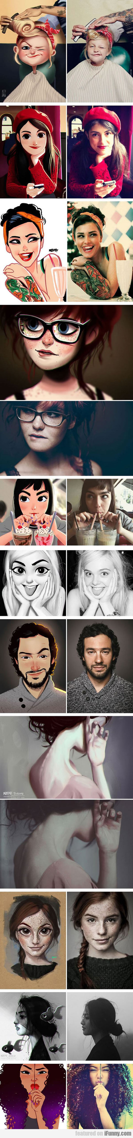 Artist Turns Photos Of Random People Into Fun...