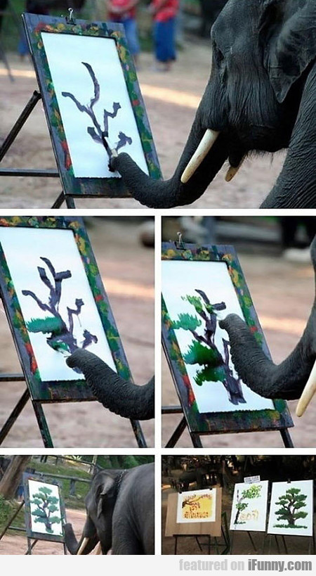 Elephant Painting A Tree