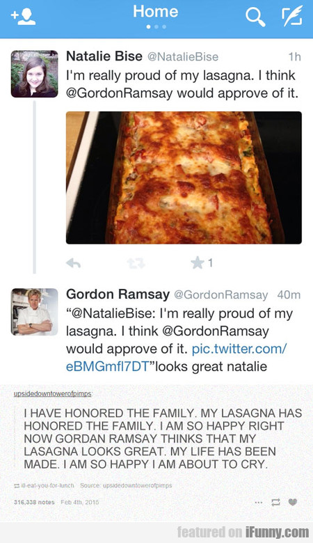 The Lasagna Gods Have Smiled Upon This Person