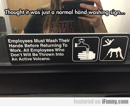 Thought It Was Just A Normal Hand Washing Sign