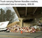 Truck Carrying Ramen Noodles Crashes, Estimated...