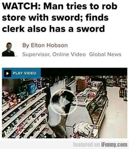 Watch - Man Tries To Rob Store With Sword