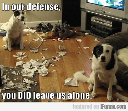 In Our Defense, You Did Leave Us Alone...