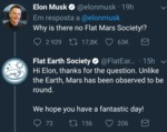 Why Is There No Flat Mars Society!? - Hi Elon...