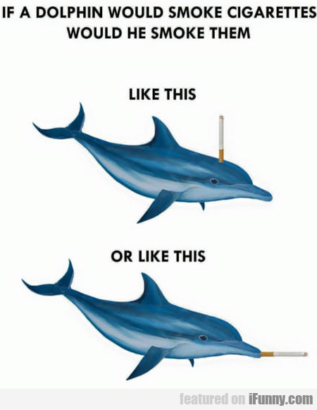 If a Dolphin would smoke cigarettes would he...