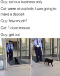 Guy: - Serious Business Only - Cat: - Umm...